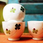 3 tách trà nhật hoa lá bọ cánh cứng