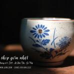 4 ly trà nhật, Mộc men hạt mè, hoa văn vẽ tay