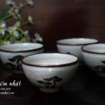 4 Tách trà gốm nhật thô (triện bầu dục)