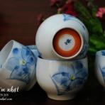 5 tách trà hoa vẽ tay phủ men (sold)
